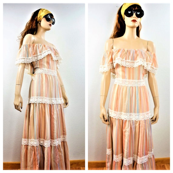 CLEARANCE 70s Hippie Dress - Bohemian Peasant Dres