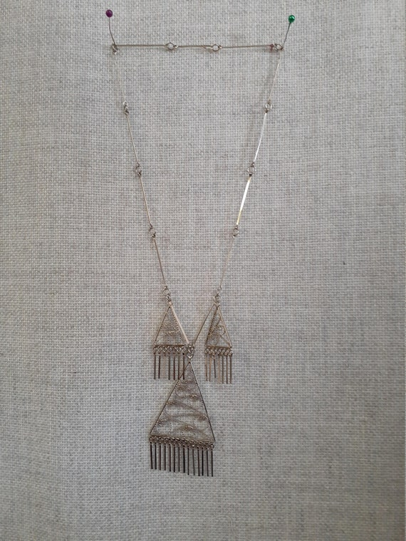 60's Brutalist Sterling Necklace and Earrings Set