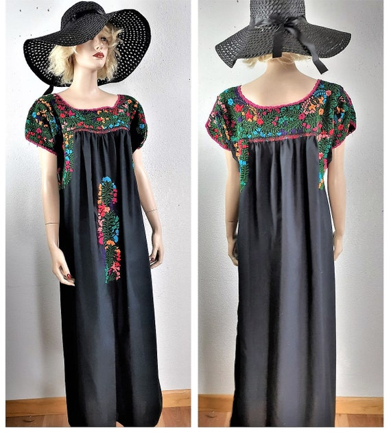 Hand Embroidered Mexican Dress - Mexican Caftan Dr