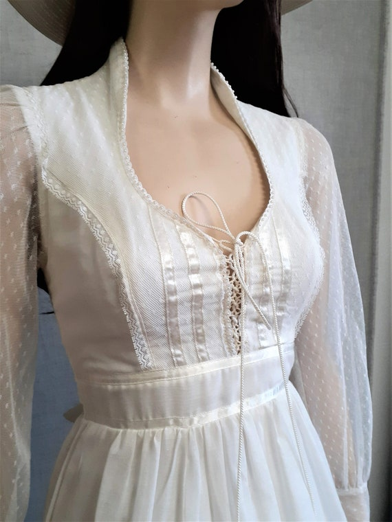 70s Gunne Sax Prairie Wedding Dress - Dead Stock … - image 2