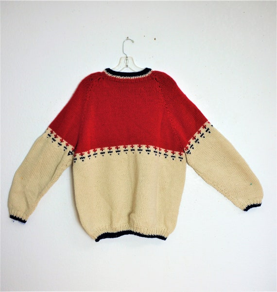 Vng 50s 60's Hand Knit Chunky Men's Sweater Sz L-X