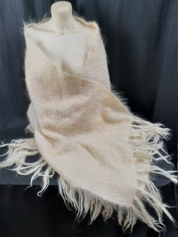 1950s Mohair Bridal Shawl Wrap - 60's Large Long W