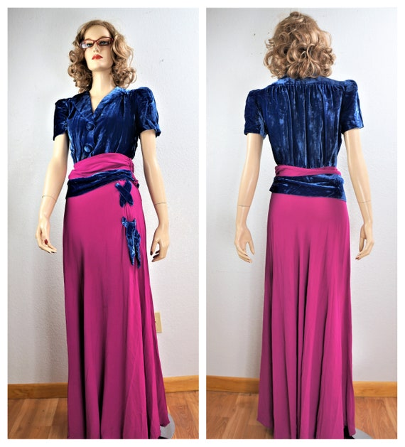 RARE 40's Velvet Crepe Gown - 30's Royal Blue Silk