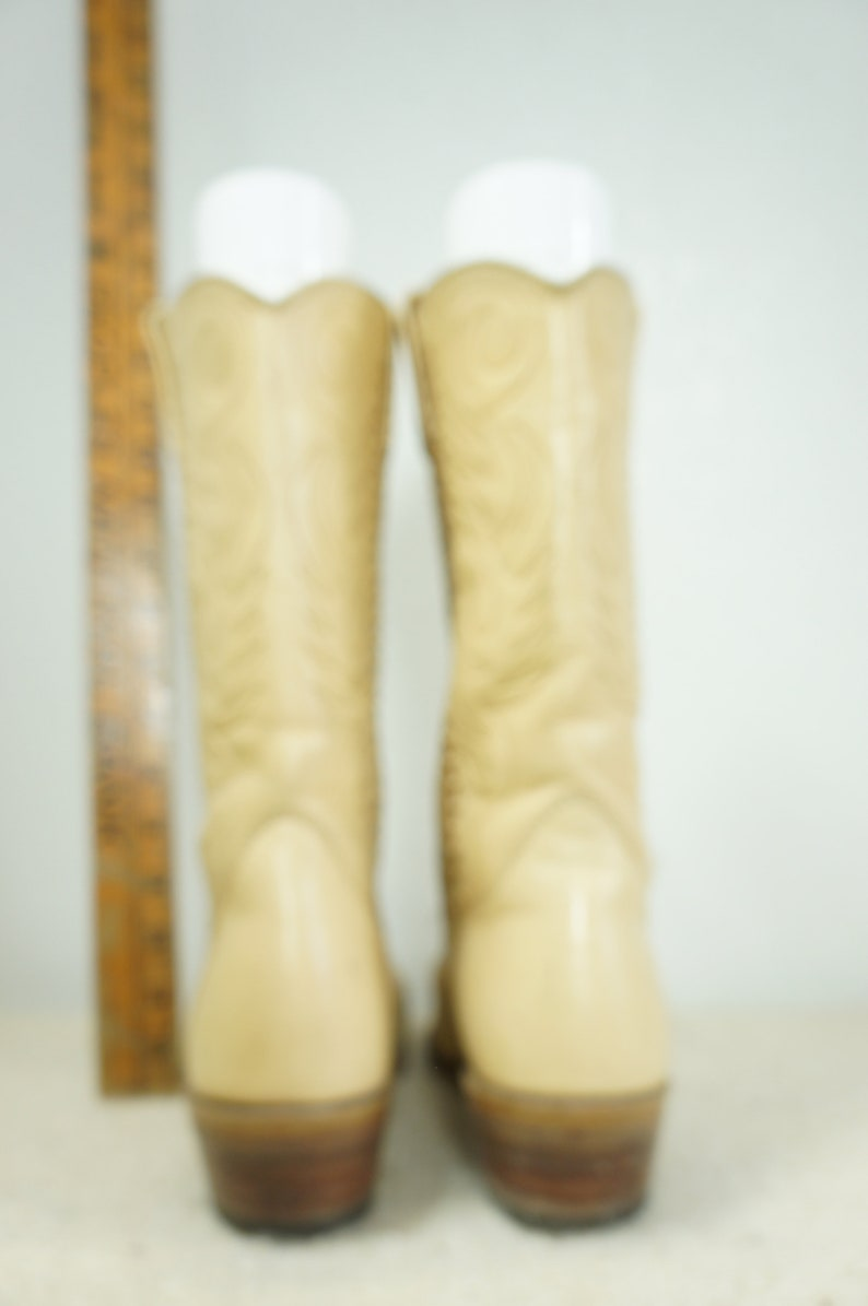 0c09622e11b73 50s Custom Cowboy Boots Mens Sz 14-15 EXLLNT COND / Rockabilly Whip Stitch  Pointed Toe Cowboy Boots Creamy White / Mens Wedding Cowboy Boots