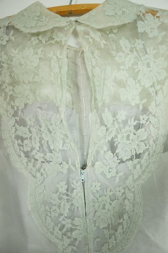 40s Party Dress - 50's Mint Green Chiffon Lace Te… - image 8