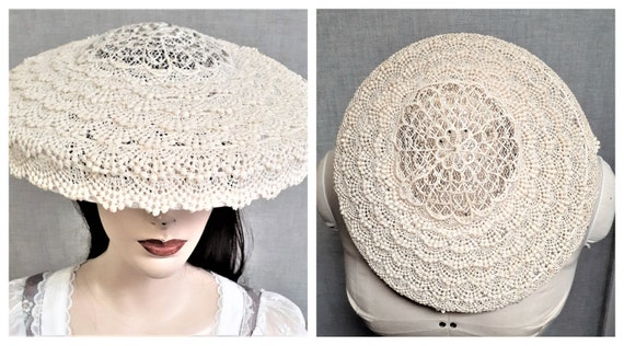 1930's STUNNING Lacework and Rhinestone Saucer Hat