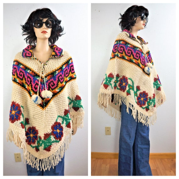 True Vintage 60's Handmade Fringe Knit Poncho - 70