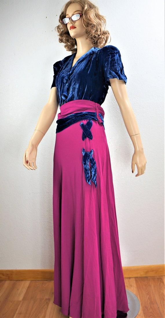RARE 40's Velvet Crepe Gown - 30's Royal Blue Sil… - image 5