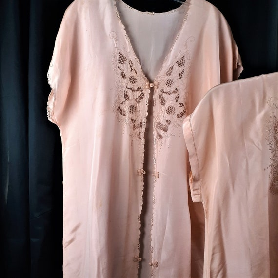1920s 1930s 3 pc Silk Pajama Set - Art Nouveau Si… - image 3