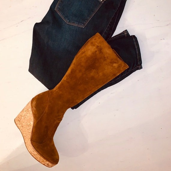 Vintage 70's Style Suede Platform Wedge Boots - FA