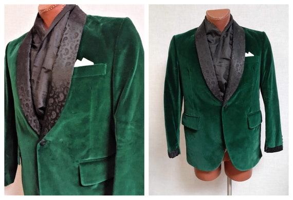 Vintage Velvet and Satin Smoking Jacket - Men's Hu