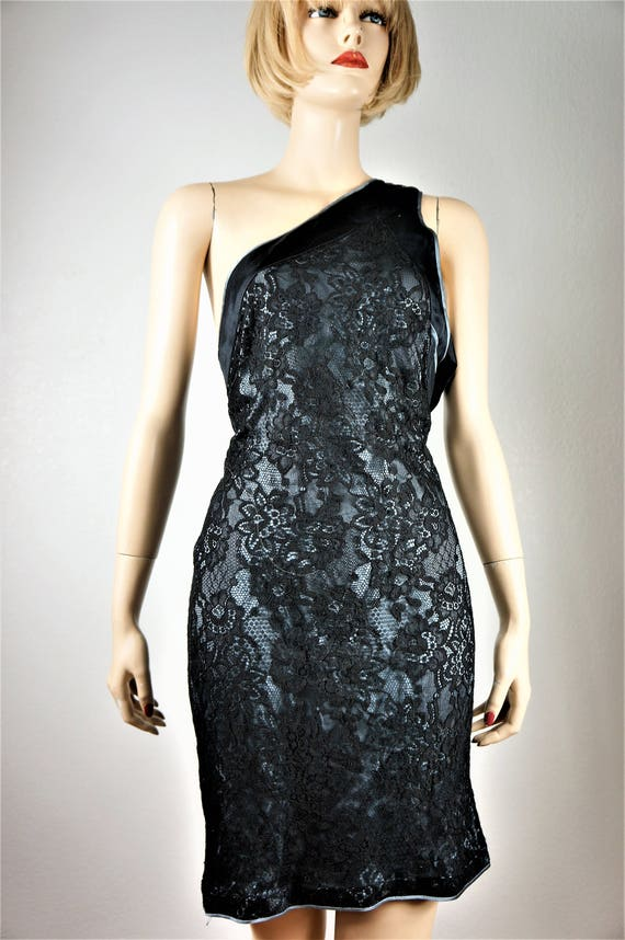 VngVersace Silk Lace Dress VngCouture Sz Garde Dress Black Shoulder COUTURE 14 US Cocktail Avant Gianni Little 90 Versace' One ITALIAN w71fqHU