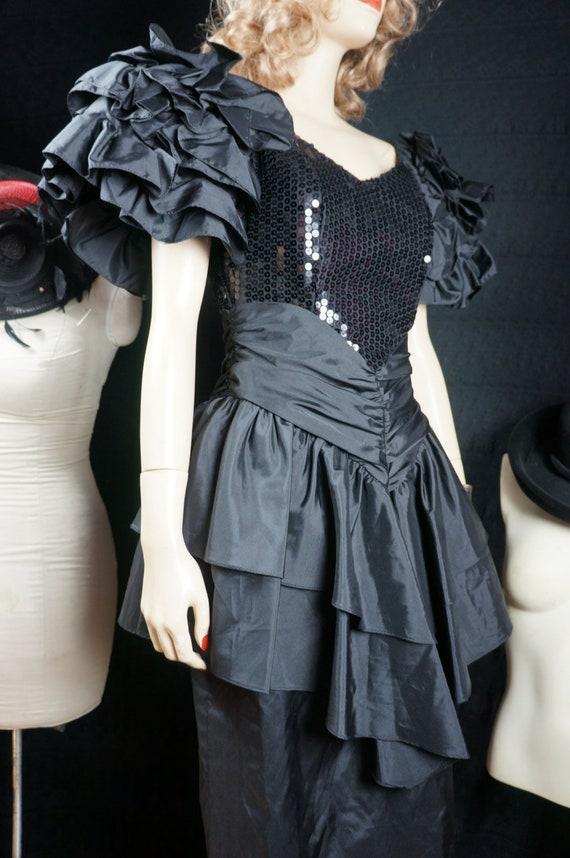 80s Avant Garde Black Dress - Sequin Peplum Dress