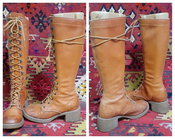 Vng Penny Lane Tall Gum Sole Lace Up Boots / see m