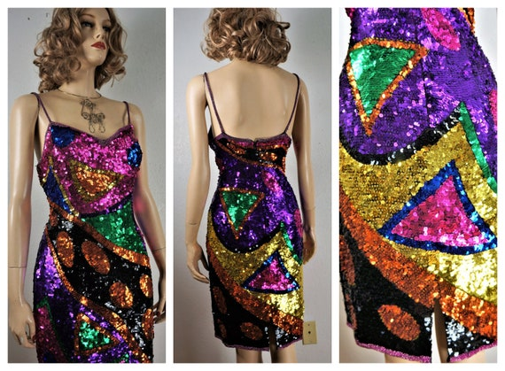 Neon Silk Sequin Party Dress Sz 12 / 80's 90's Abs