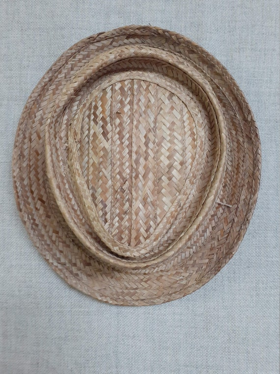 40's 50's Mens Pork Pie Straw Hat - 50's 60's Men… - image 2