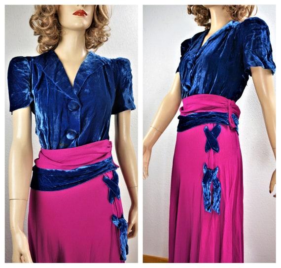 RARE 40's Velvet Crepe Gown - 30's Royal Blue Sil… - image 2