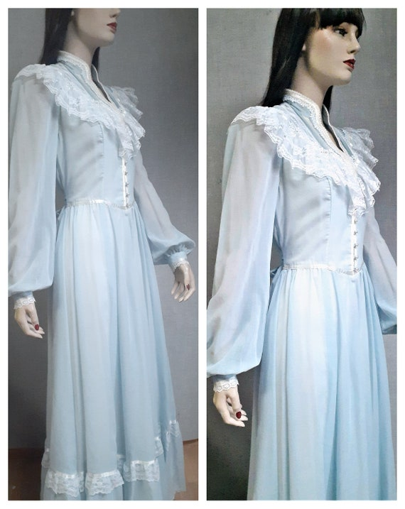 70s Gunne Sax Baby Blue Cottagecore Dress - Dead … - image 3