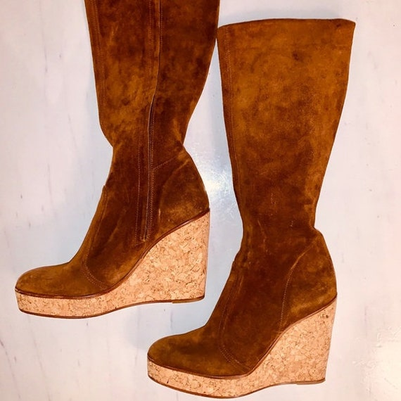 New York Couture Boots 70's Style Suede Platform W