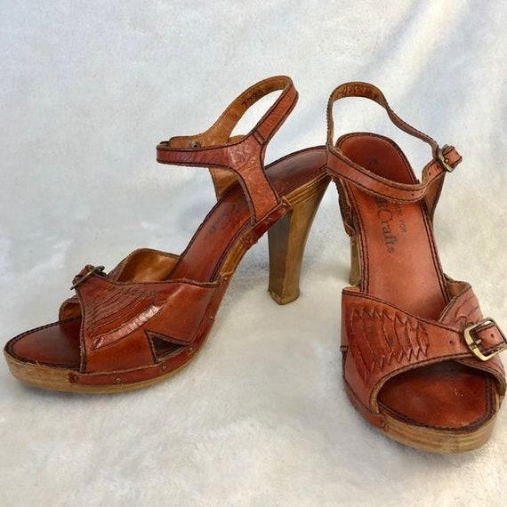 70's Platform Strappy Sandals Sz Vng 7 ( use meas… - image 1