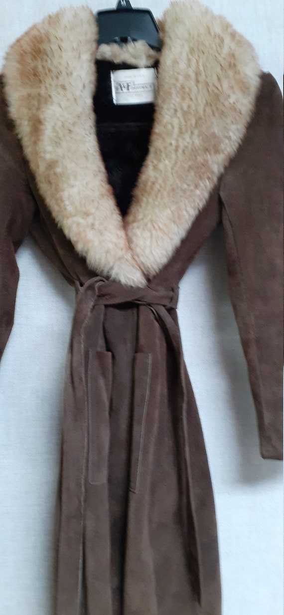 70's Almost Famous Shearling Wrap Coat - Full She… - image 9