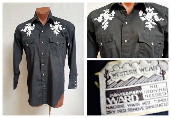 70's Embroidered Western ROCKABILLY Shirt - Vng M… - image 1