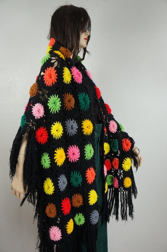 60's Granny Square Hippie Shawl  - Hippie Boho Po… - image 6