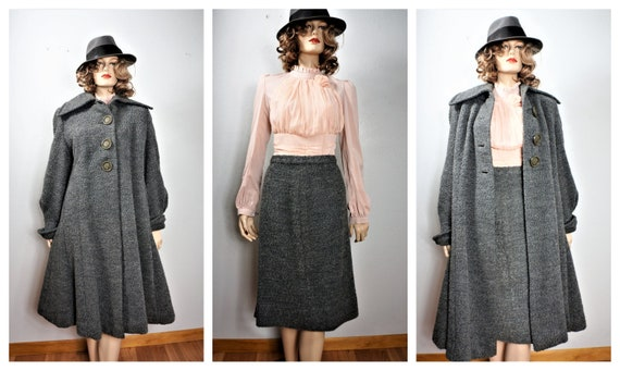 40's Grey Wool Swing Coat -100% Virgin Wool 2 Pc S