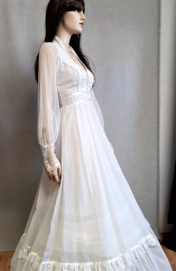 70s Gunne Sax Prairie Wedding Dress - Dead Stock … - image 5