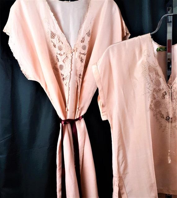 1920s 1930s 3 pc Silk Pajama Set - Art Nouveau Si… - image 5