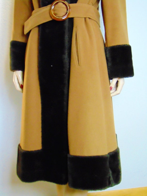 30's 40's Faux Fur Trimmed Wool Princess Coat -19… - image 6
