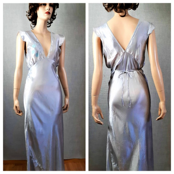 Baby Blue 1930's  Silky Nightgown - 30's 40's Bias