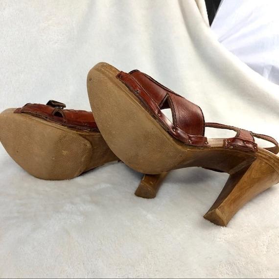 70's Platform Strappy Sandals Sz Vng 7 ( use meas… - image 5