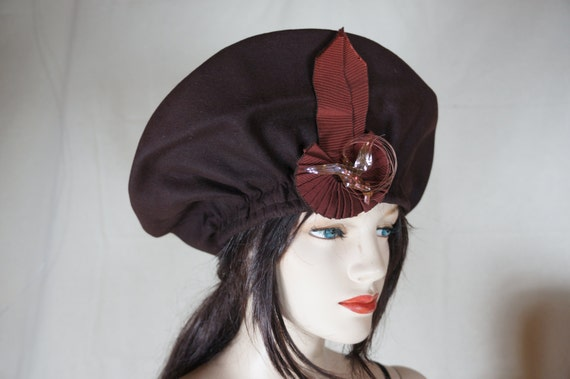 Rare 1940 Millinery Over Sized Wool PANCAKE Architectural Hat  48f02c20ea08