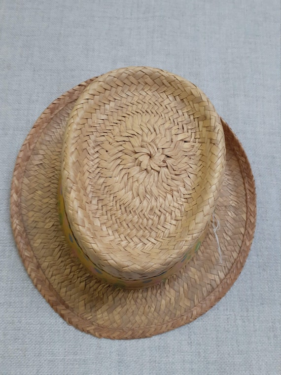 CLEARANCE - Early 60's Pork Pie Straw Mens Hat - … - image 2