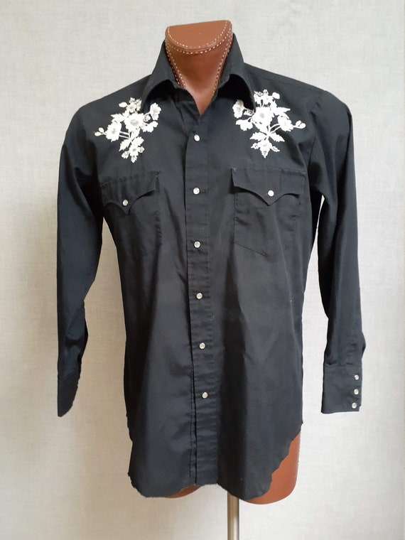 70's Embroidered Western ROCKABILLY Shirt - Vng M… - image 2