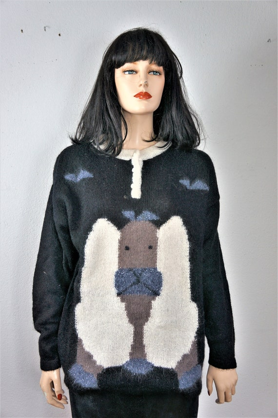 80's Ugly Sweater - Designer Italian Mohair Sweat… - image 4