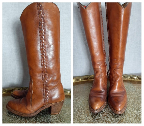 70s Frye Style Braided Leather Tall Campus Boots -