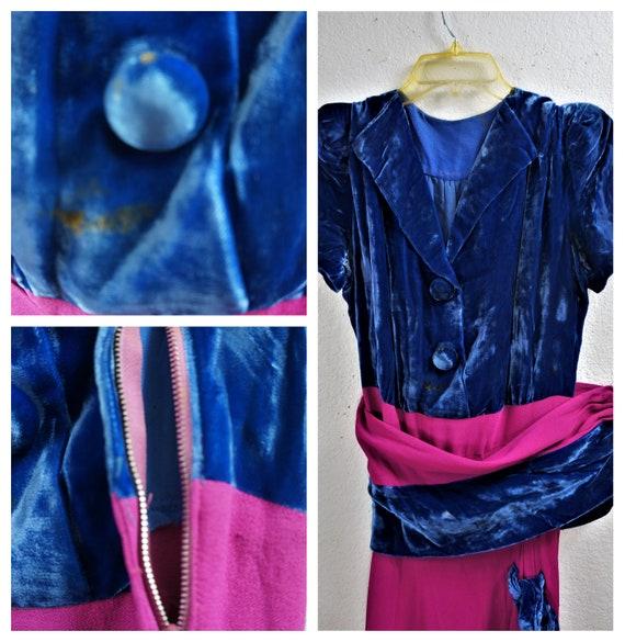RARE 40's Velvet Crepe Gown - 30's Royal Blue Sil… - image 10
