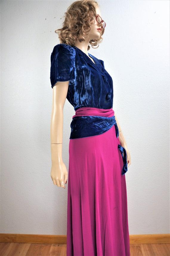 RARE 40's Velvet Crepe Gown - 30's Royal Blue Sil… - image 7