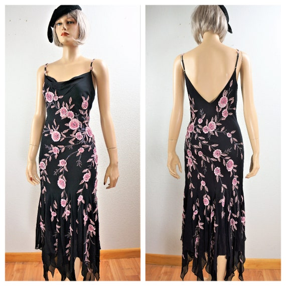 Halloween 20's 30's Silk Gown  - Silk Slip Dress -