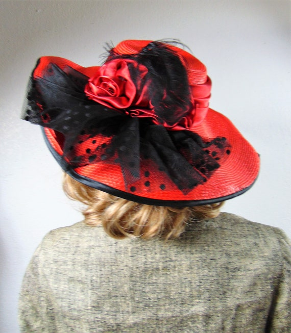 CLEARANCE 80S Does 40's Red Straw Silk Wide Brim … - image 1