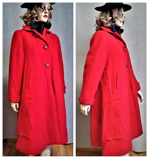 40s Red Wool Swing Coat with Bow - Vng Red Wool Co