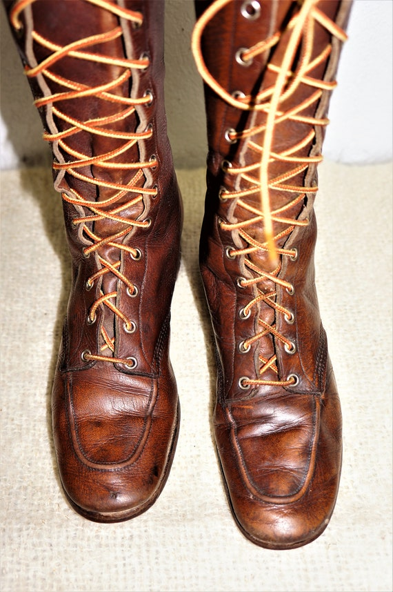1930's Tall Lace Up Hiking Boots Womens sz 6 - Hi… - image 7