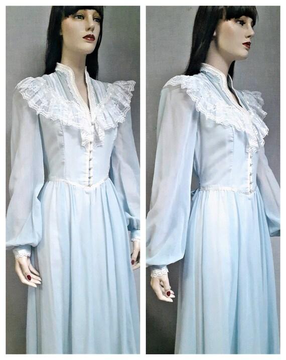 70s Gunne Sax Baby Blue Cottagecore Dress - Dead … - image 4