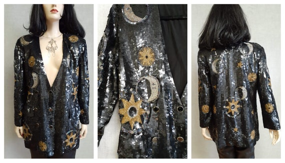 Double Breasted Sequined Silk Blazer - Designer Oo