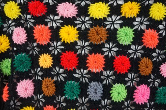 60's Granny Square Hippie Shawl  - Hippie Boho Po… - image 4