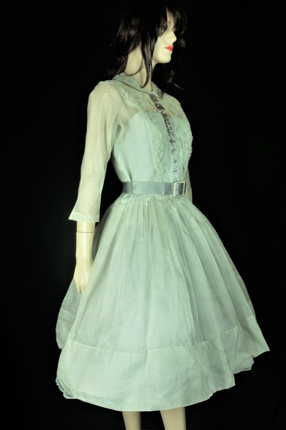 40s Party Dress - 50's Mint Green Chiffon Lace Te… - image 2
