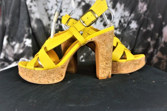 90s Leather Chunky PLATFORM Heels Sz 10 - Imported