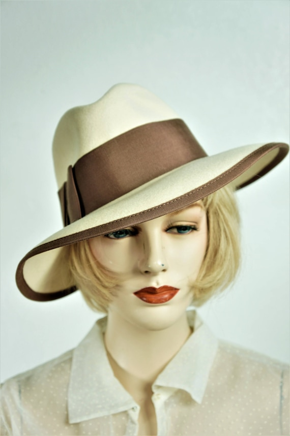 6dc4c42665a Vng 30 s Women s Wool Fedora Hat   Mid Century